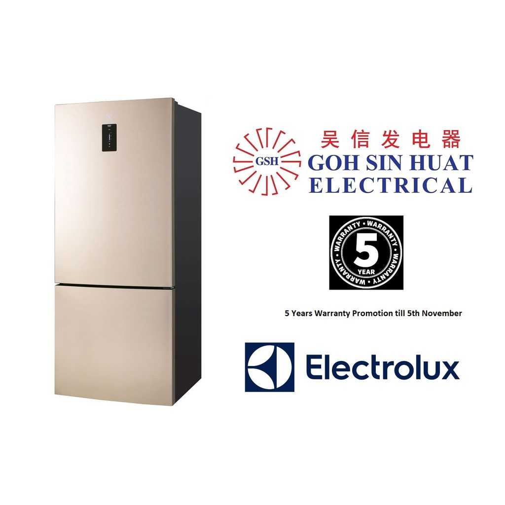 electrolux ebe4502ga 2 door fridge gross 450l bottom freezer gold shopee singapore